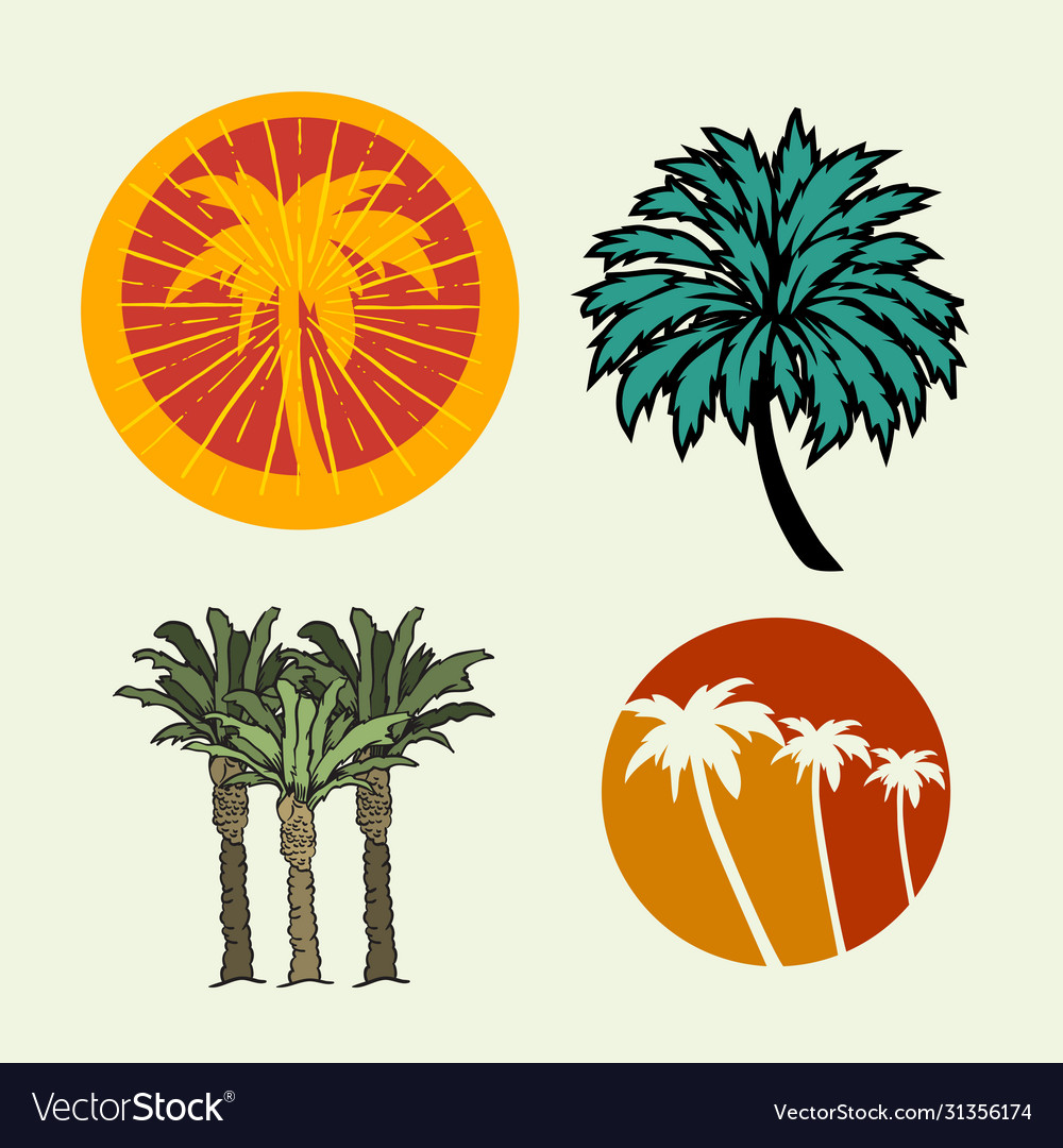 Palm trees summer time beach life hand lettering