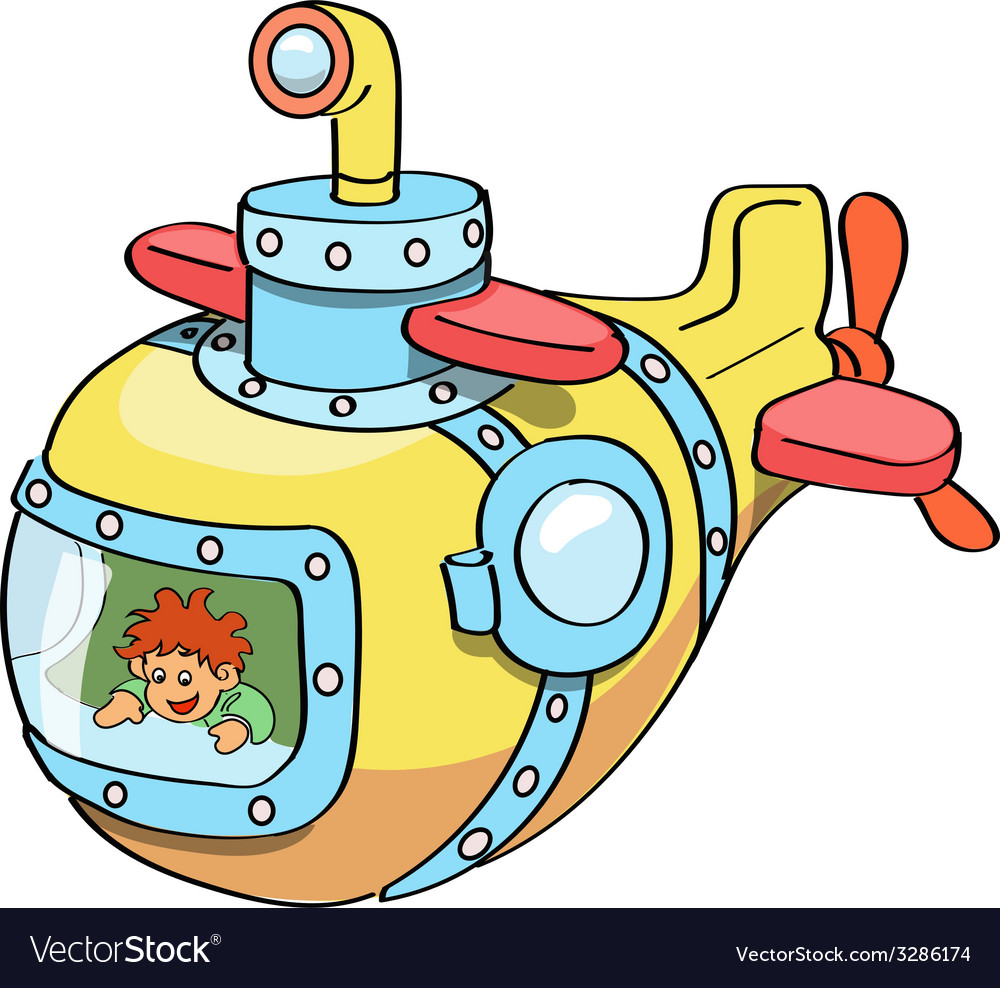 Submarine cartoon colored vector image
