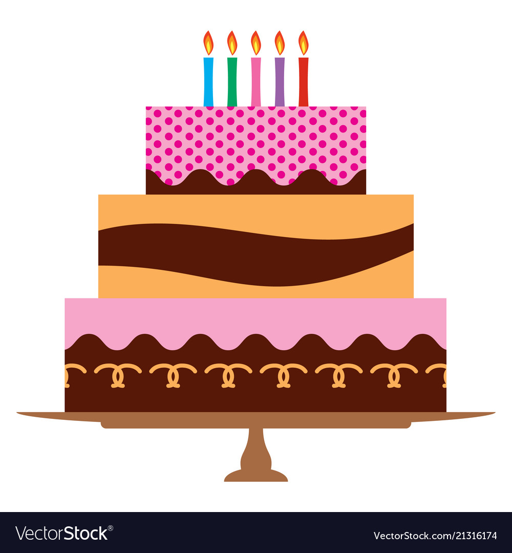 Sweet birthday cake with five burning candles