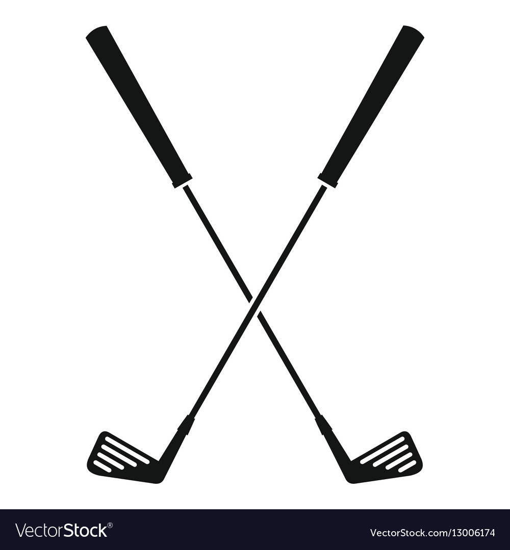 Two golf clubs icon simple style vector image