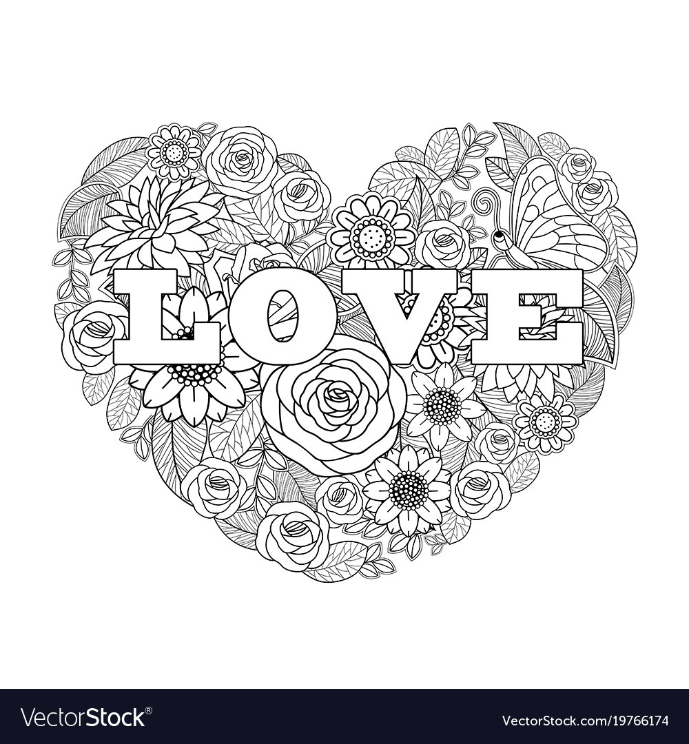 Valentines Flower Drawing Heart Shape Black White Vector Image