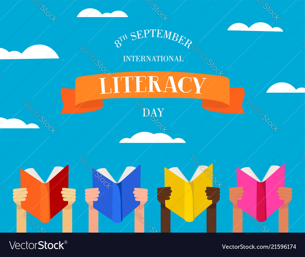 World literacy day concept of people with books