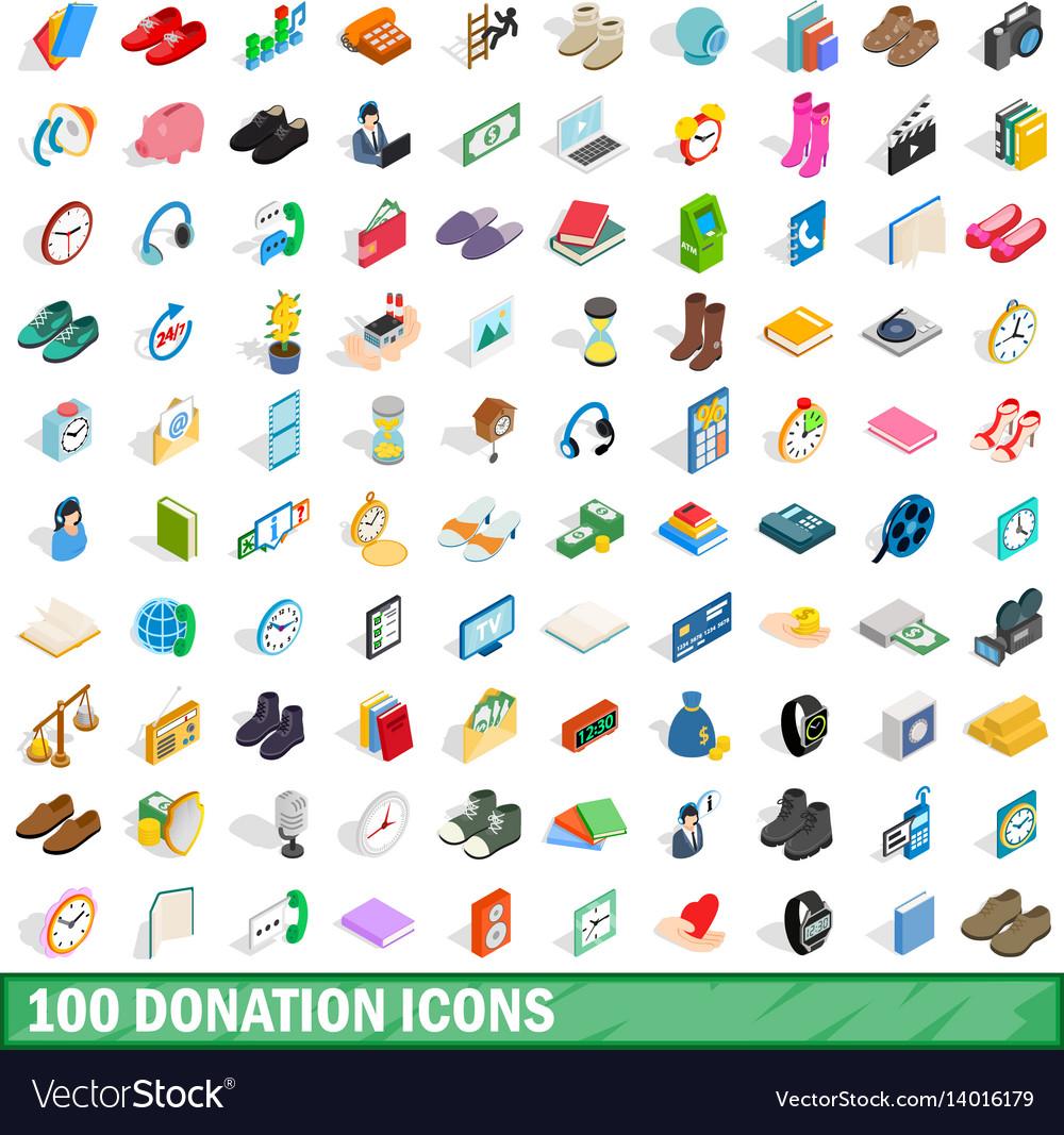 100 donation icons set isometric 3d style