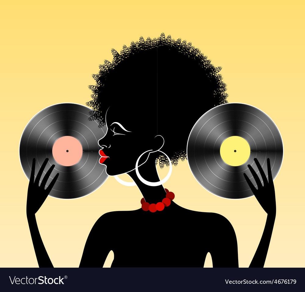 African girl with vinyl