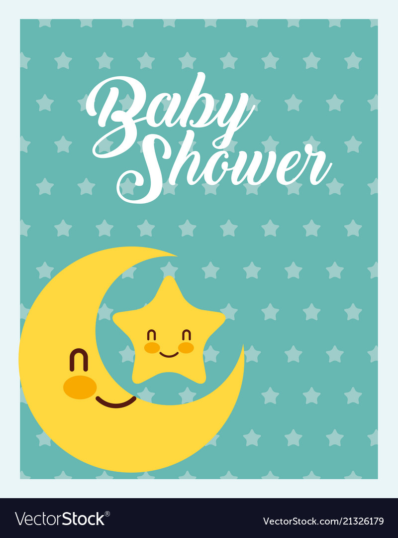 Cute moon and star dots background baby shower