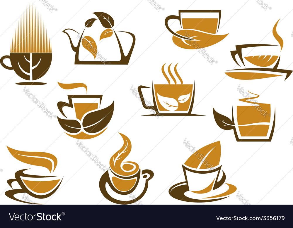 Herbal tea symbols and emblems