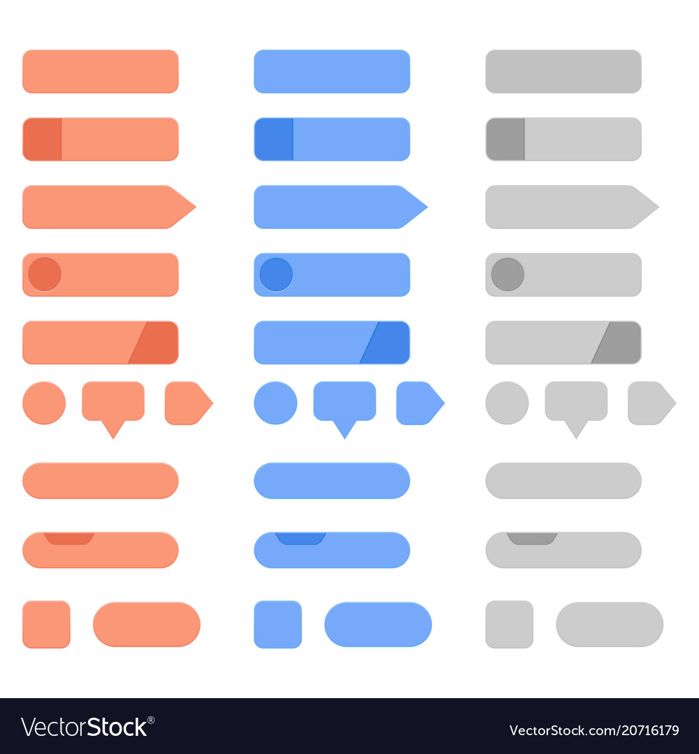 Interface menu buttons set collection of blank