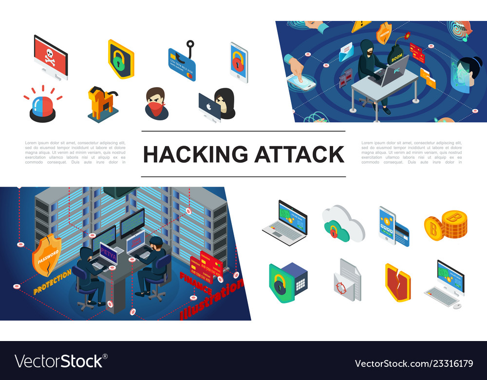 Isometric hacking elements collection