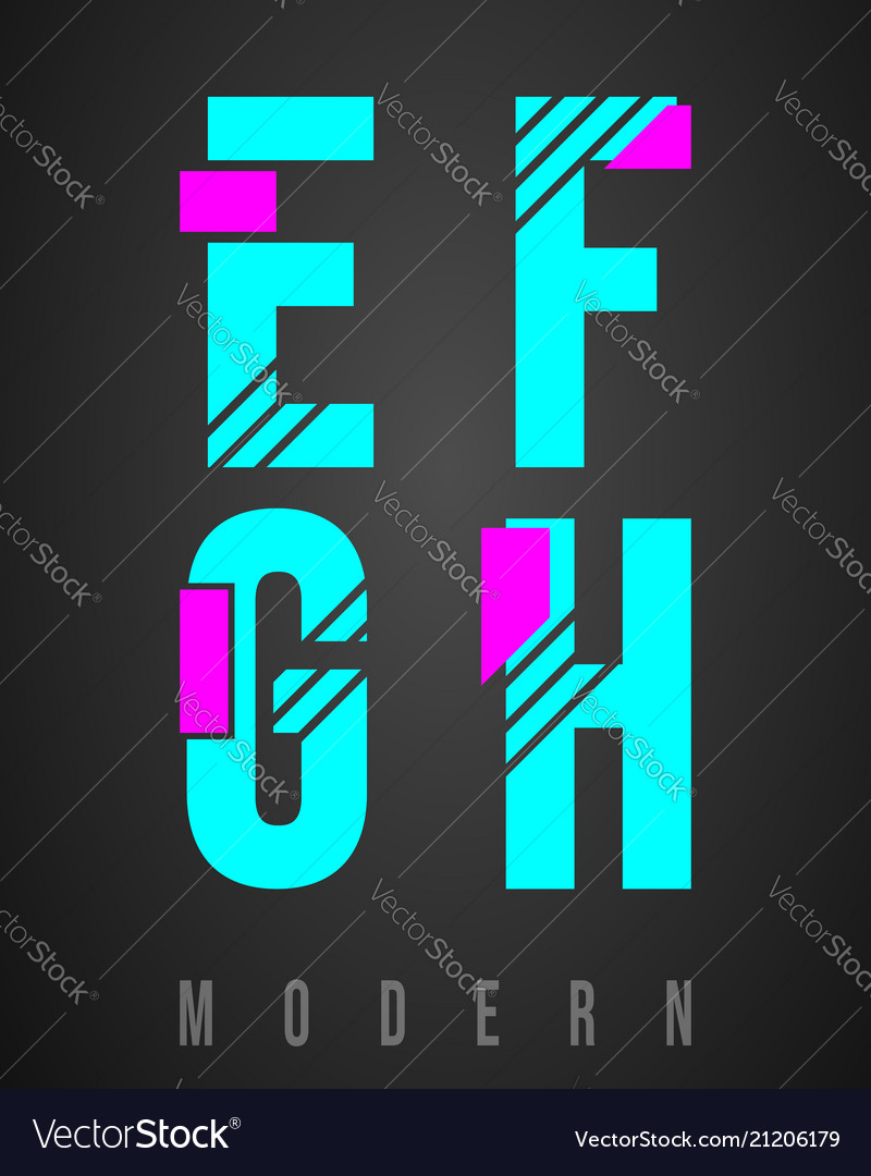 Letter font modern design set of letters e f g