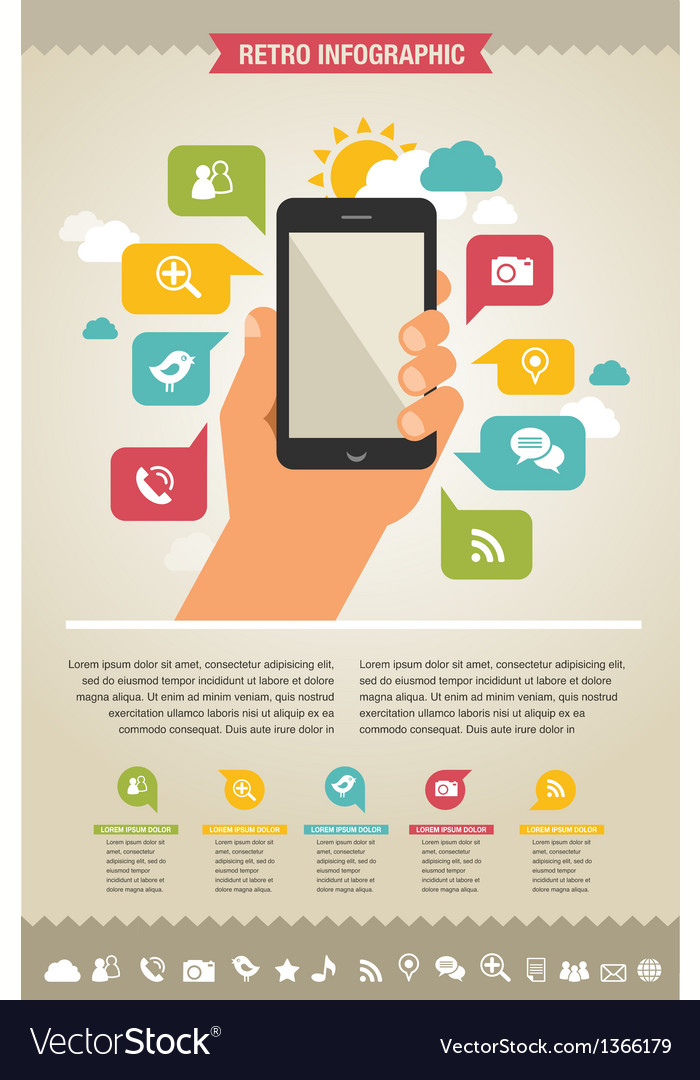 Mobile phone with icons - infographic and website