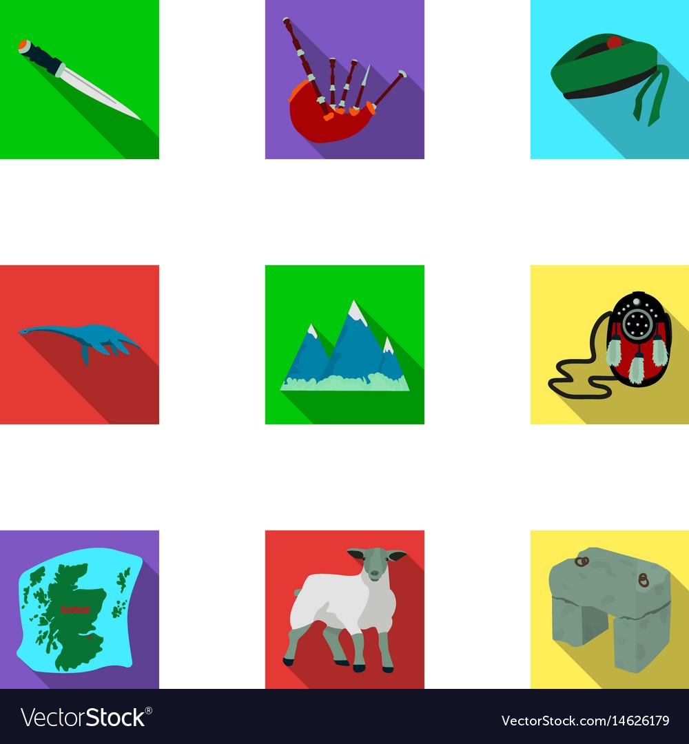 National Symbols Of Scotland Scottish Attractions Vector Image