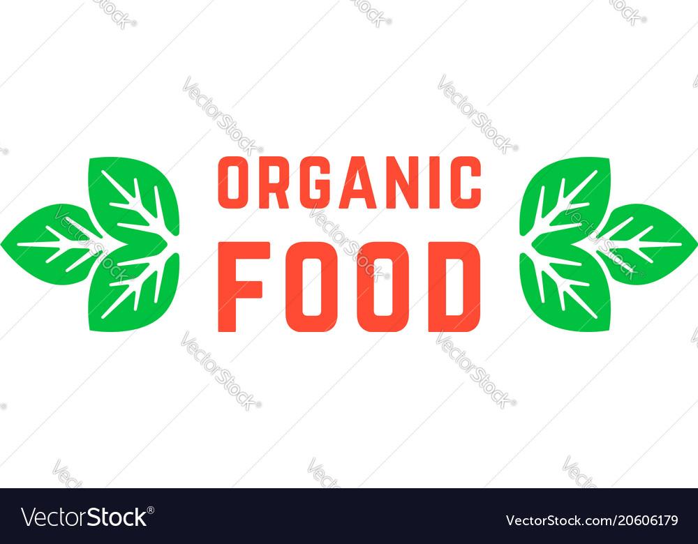 Organic food logo with green leafs