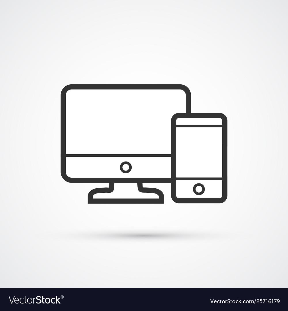 Responsive web design flat line trendy black icon