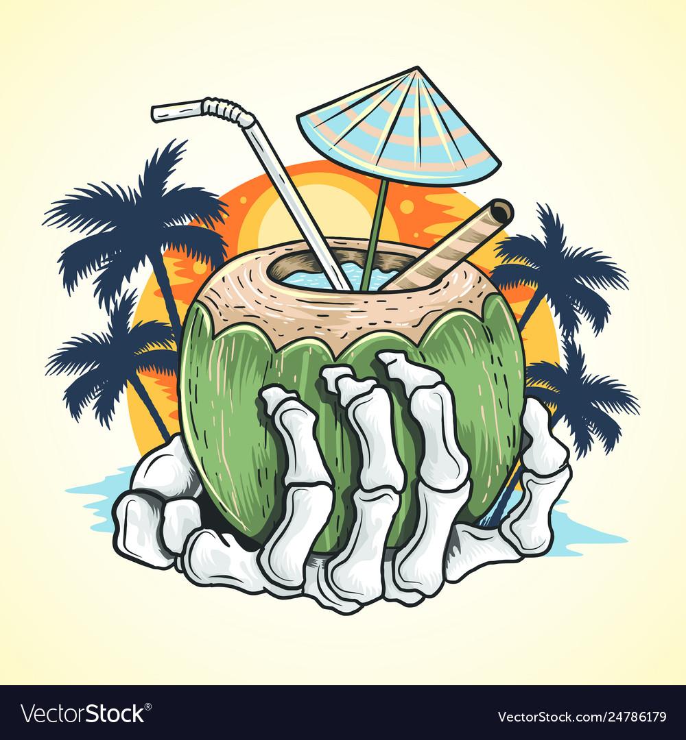 Summer coconut tree and hand skull at beach
