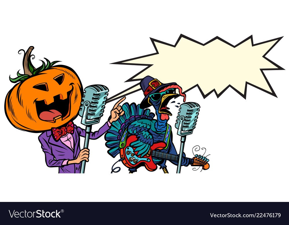 Thanksgiving and halloween music festival pumpkin vector