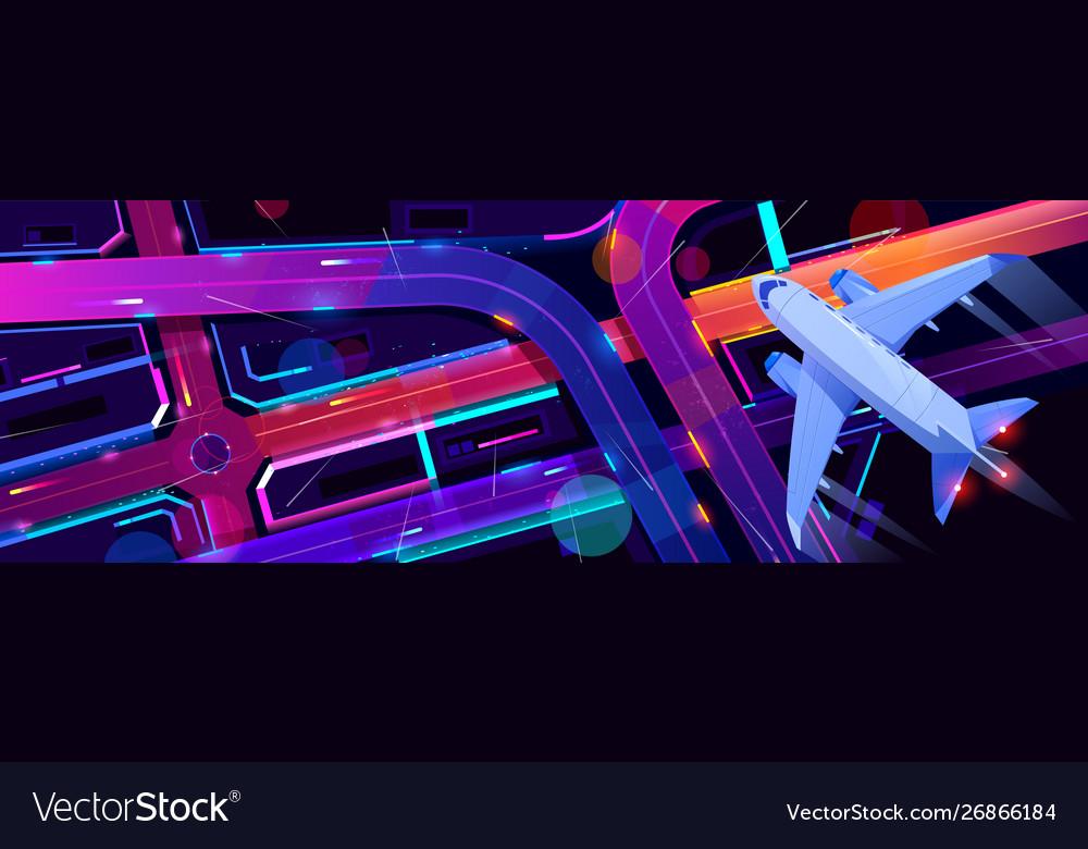 Airplane flying above city transport interchange