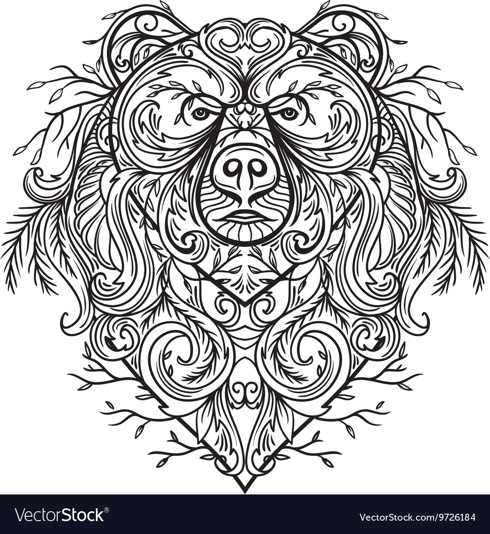 Bear with abstract floral ornament