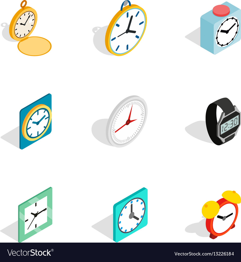Clock icons isometric 3d style vector image