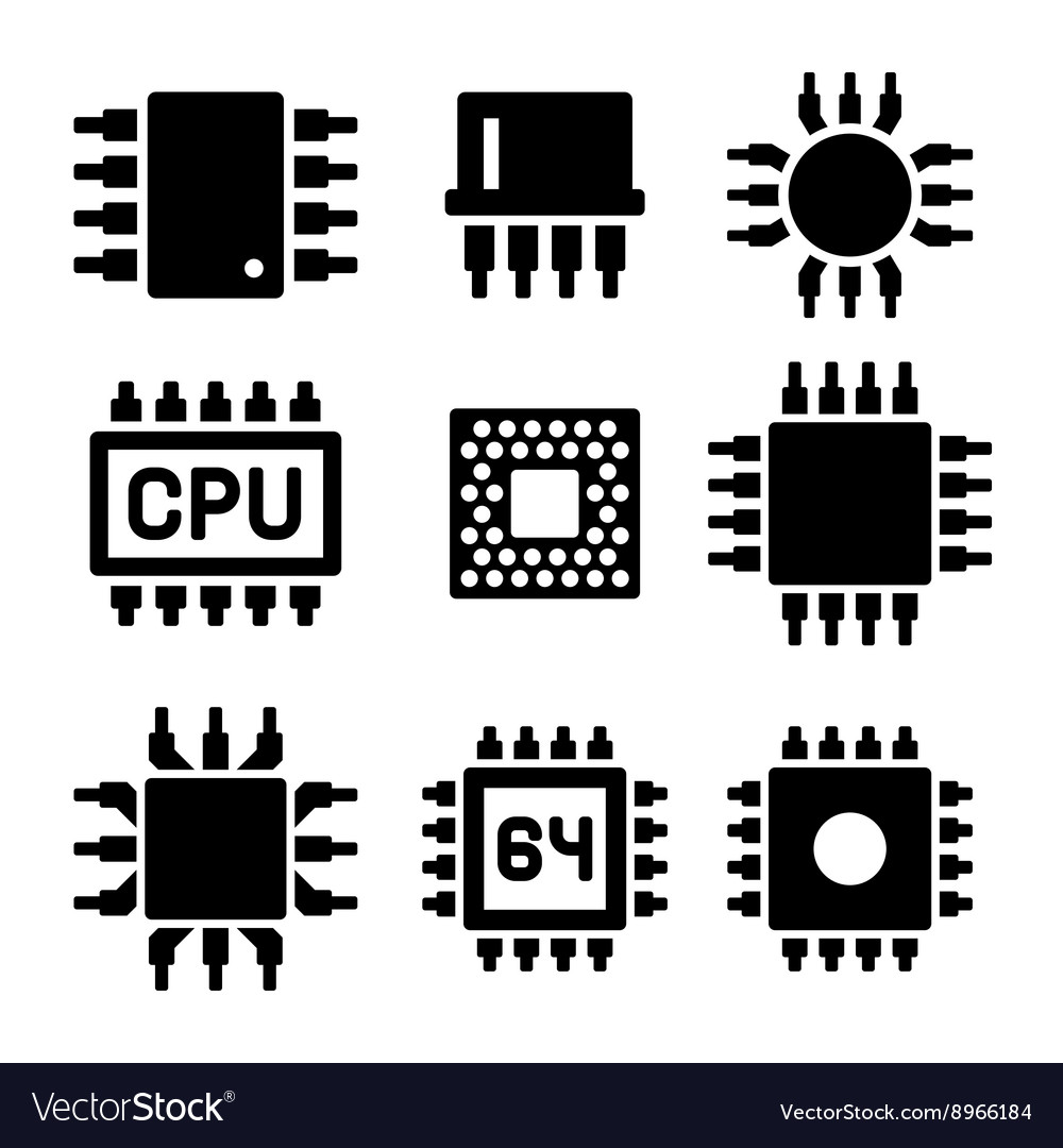 CPU Microprocessor and Chips Icons Set