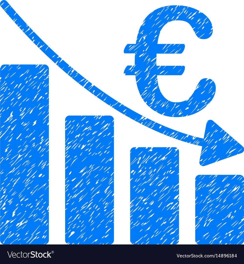 Euro recession bar chart grunge icon vector image