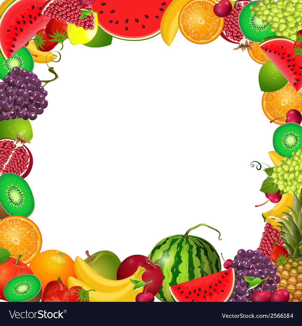 Frame template of fruit for you design Royalty Free Vector