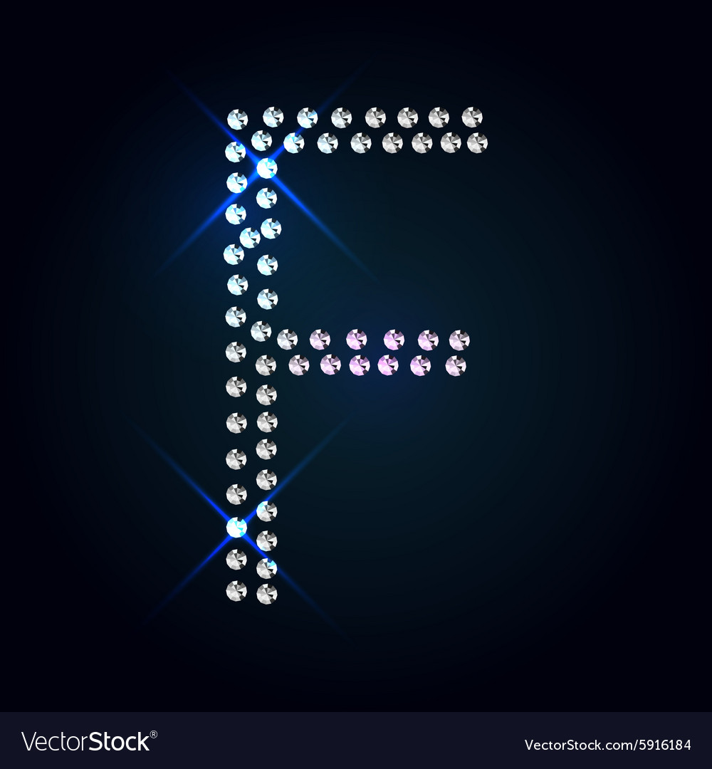Gems F letter Shiny diamond font vector image