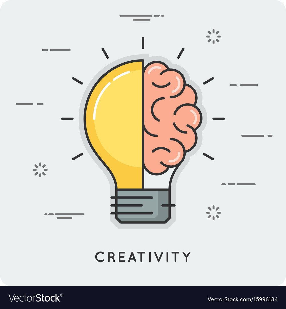 Idea and creativity thin line concept