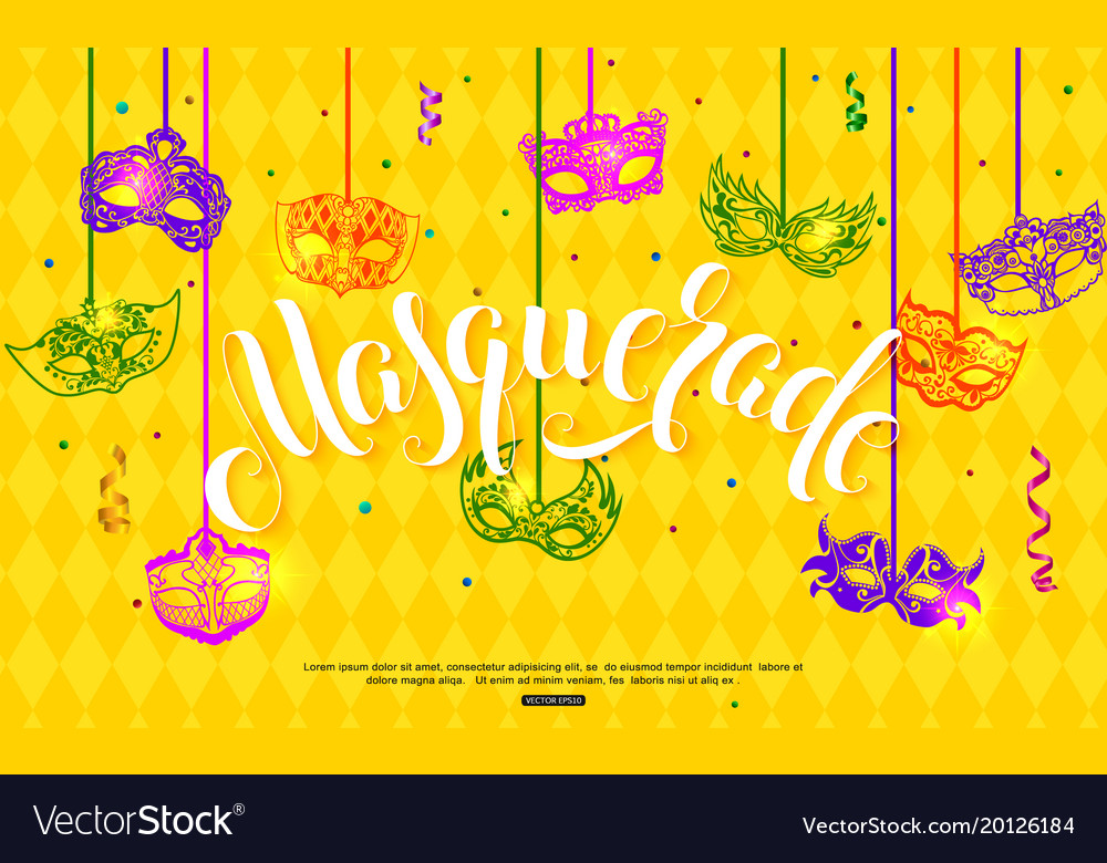 Mardi gras banner design with hanging carnival