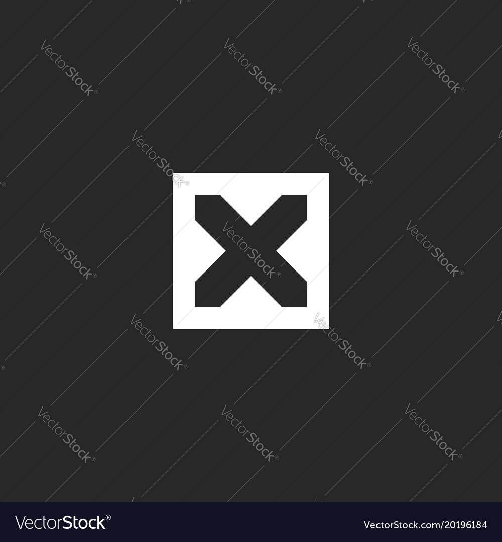 Mockup letter x logo monogram minimal style line