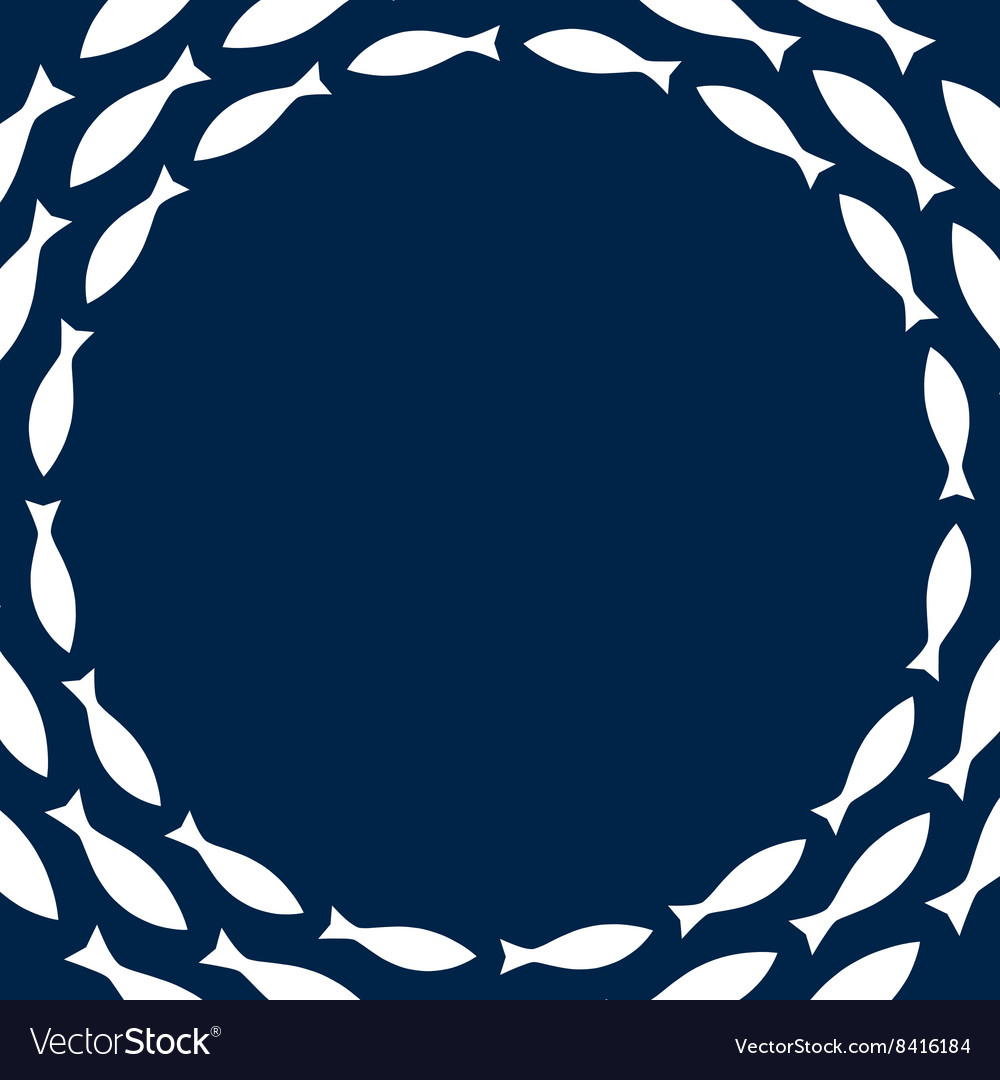 Navy blue and white simple fishes circle frame