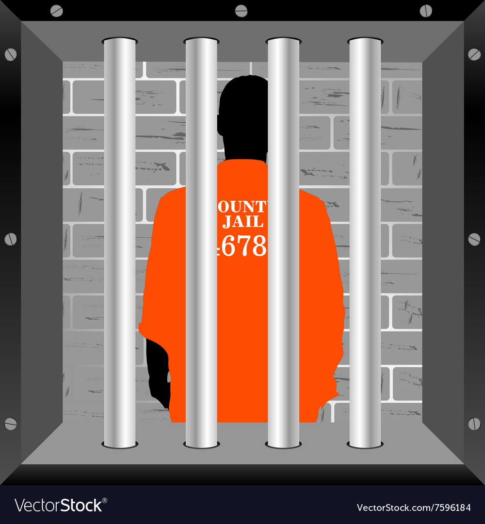 Prisioner in cell vector image