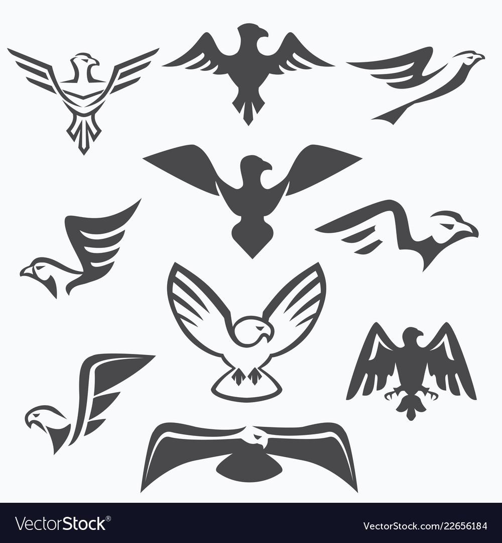 Set of eagle symbols for logo design
