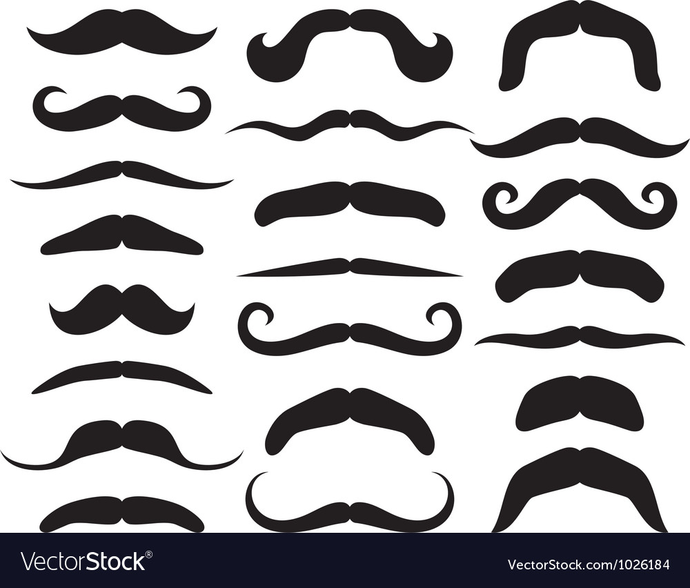 set of mustache royalty free vector image vectorstock rh vectorstock com mustache vector free download mustache vector svg