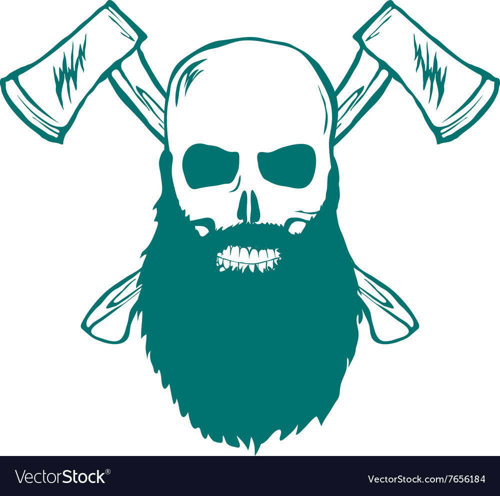 Skull with beard and Crossed Axes