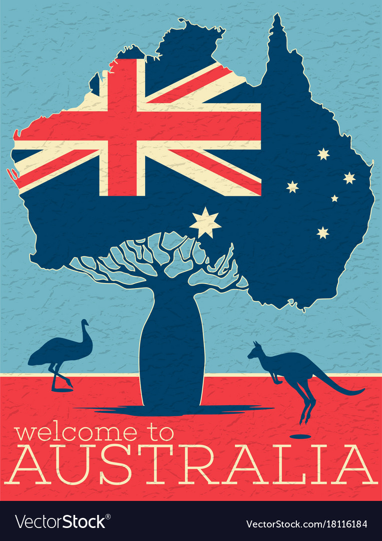 welcome to australia vintage poster royalty free vector