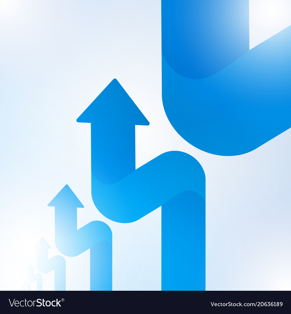 Abstract blue arrow sign growth to technology