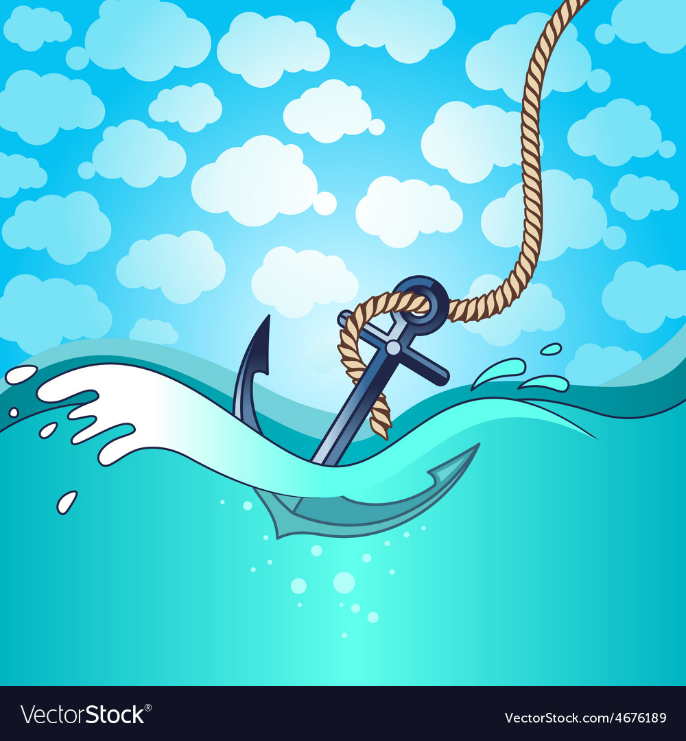 Anchor falls into the water vector image