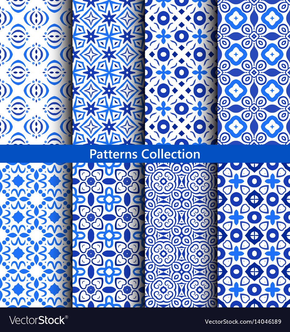 Blue Floral Backgrounds Flower Patterns Royalty Free Vector