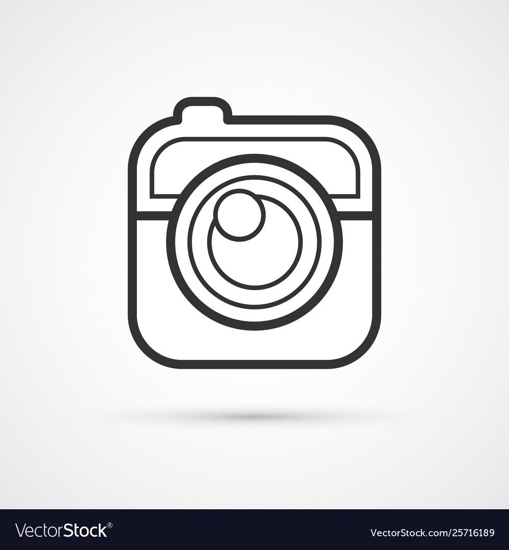 Camera flat line trendy black icon eps10