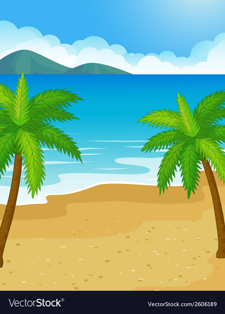 Cartoon Beach background with coconut tree