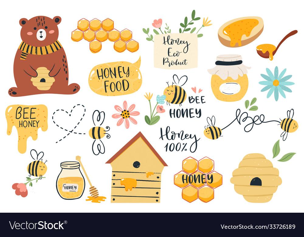 Cute honey symbols hand drawn honey jar