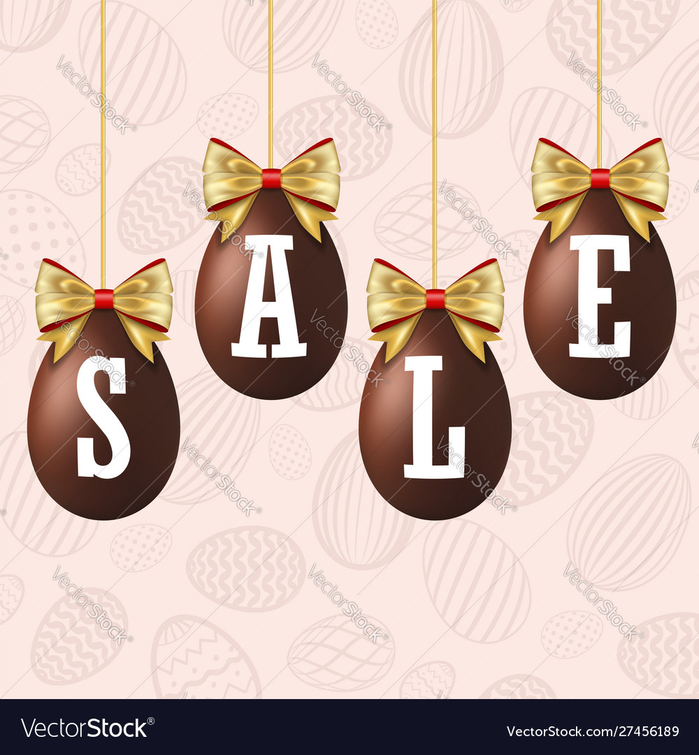 Easter egg sale 3d icons set gold ribbon bow