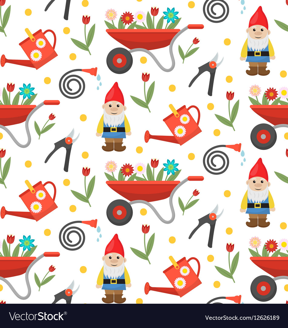 Gardening seamless pattern with gnome flowers and