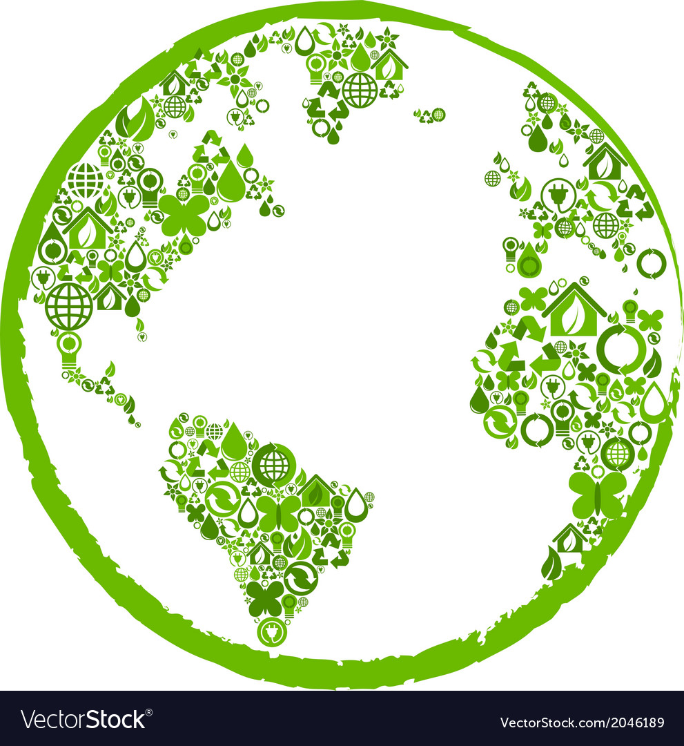 Green earth with ecological symbols vector image