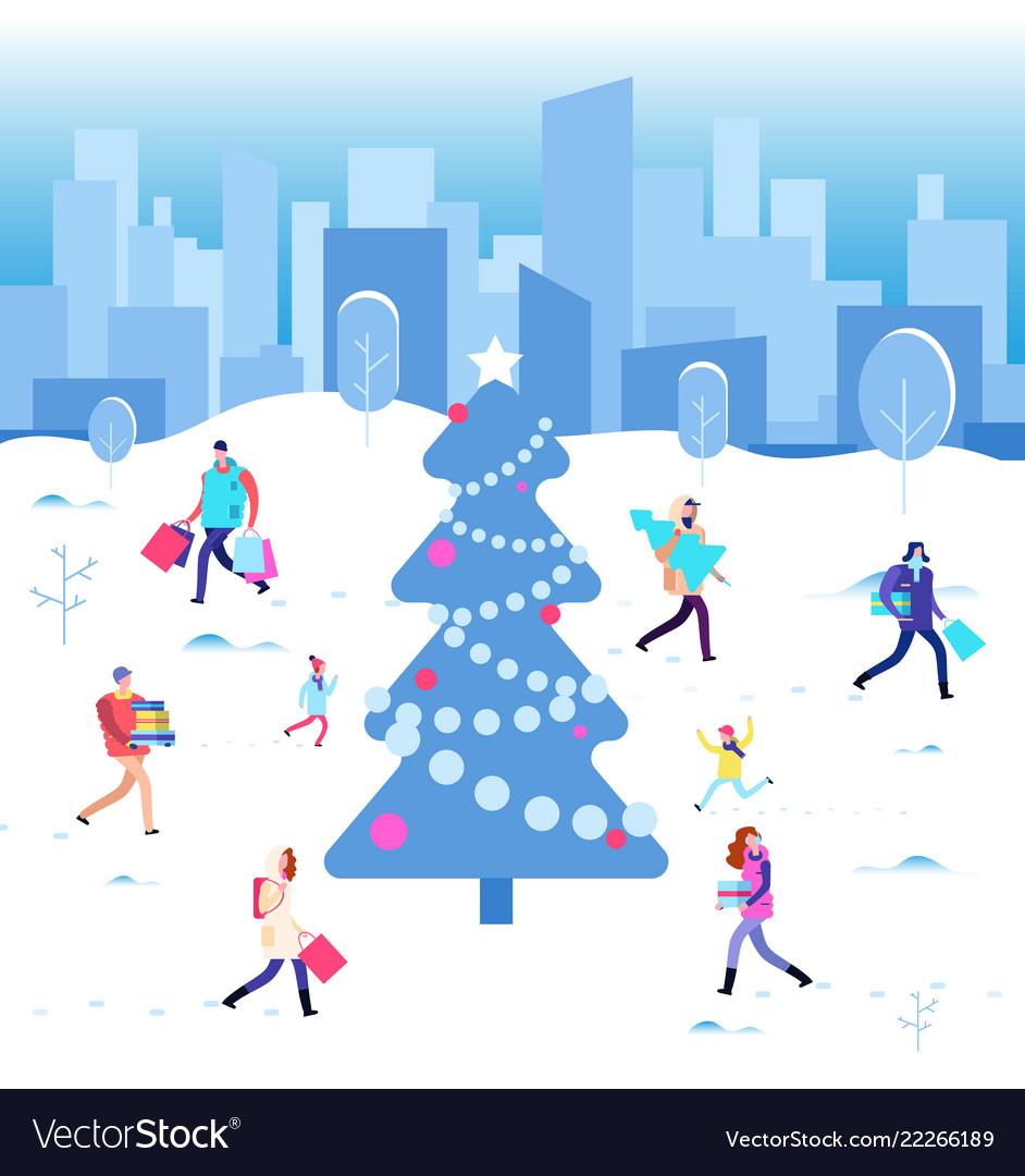 Happy christmas holiday winter people walking at
