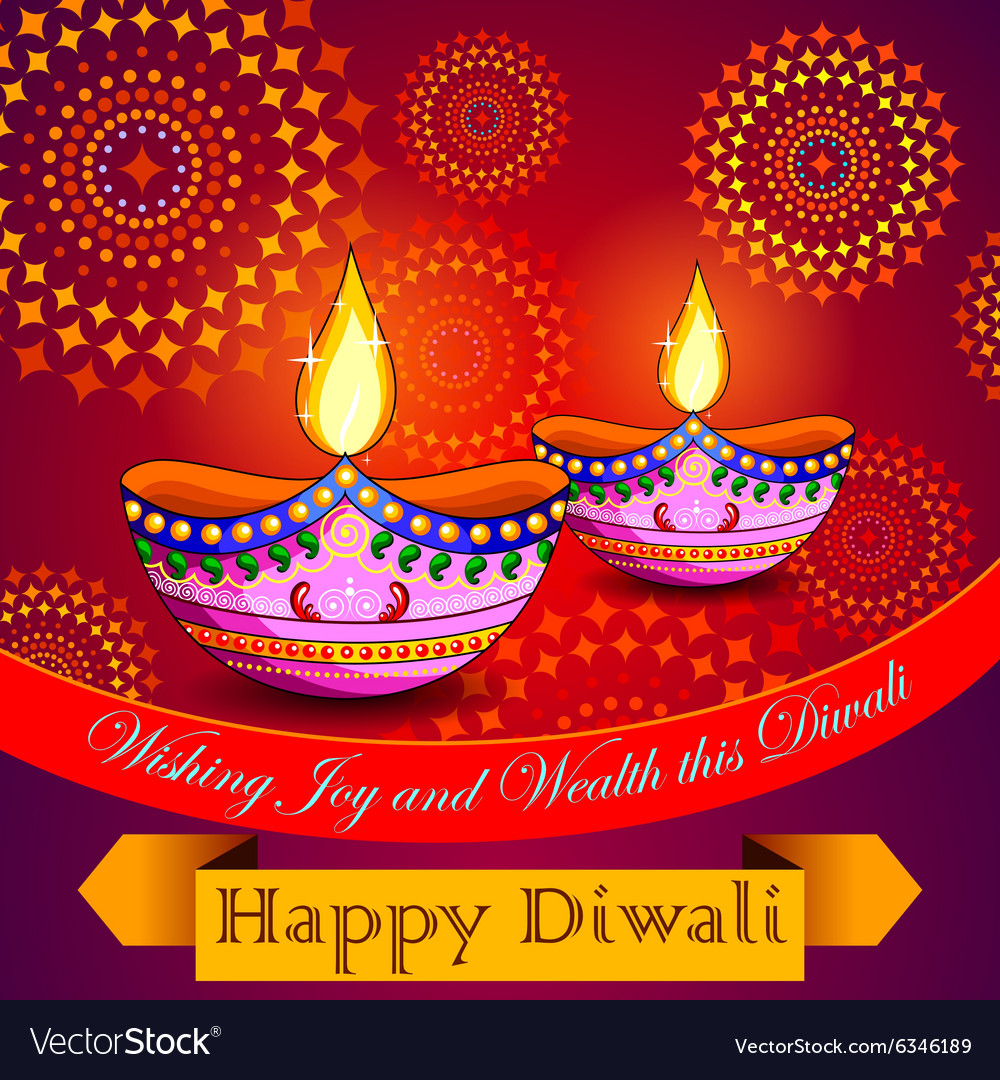 Happy Diwali background with diya and firecracker