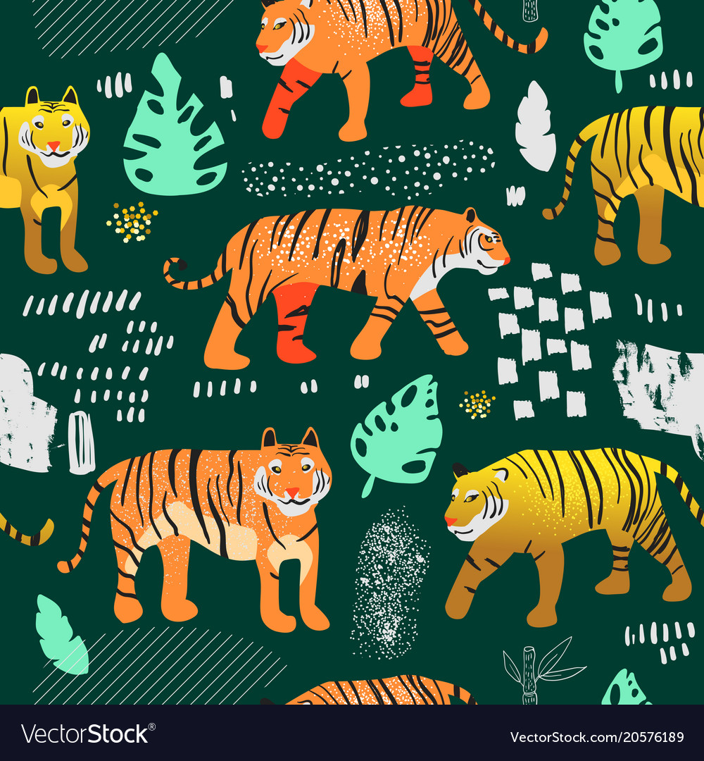Seamless pattern cute tigers childish background vector image