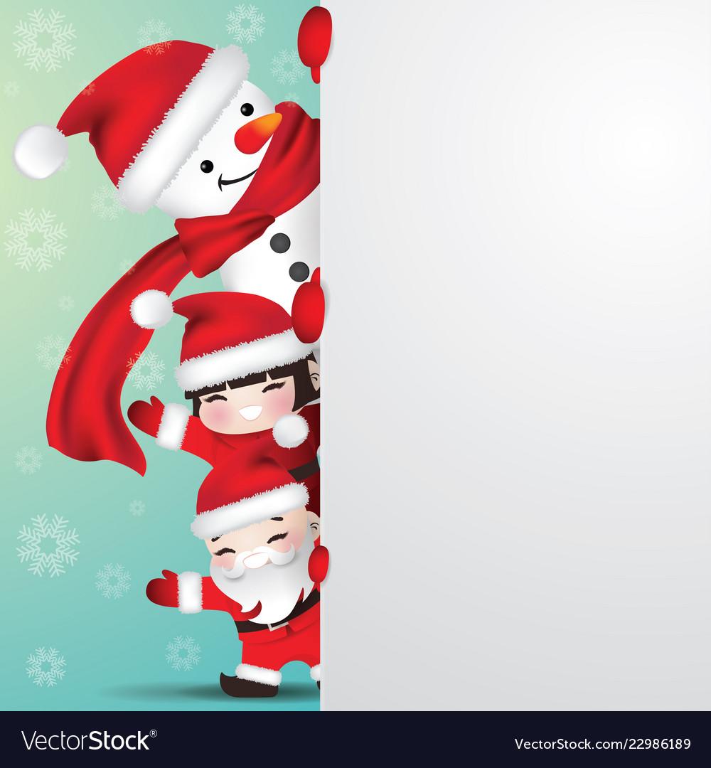 Snowman and children behind blank paper