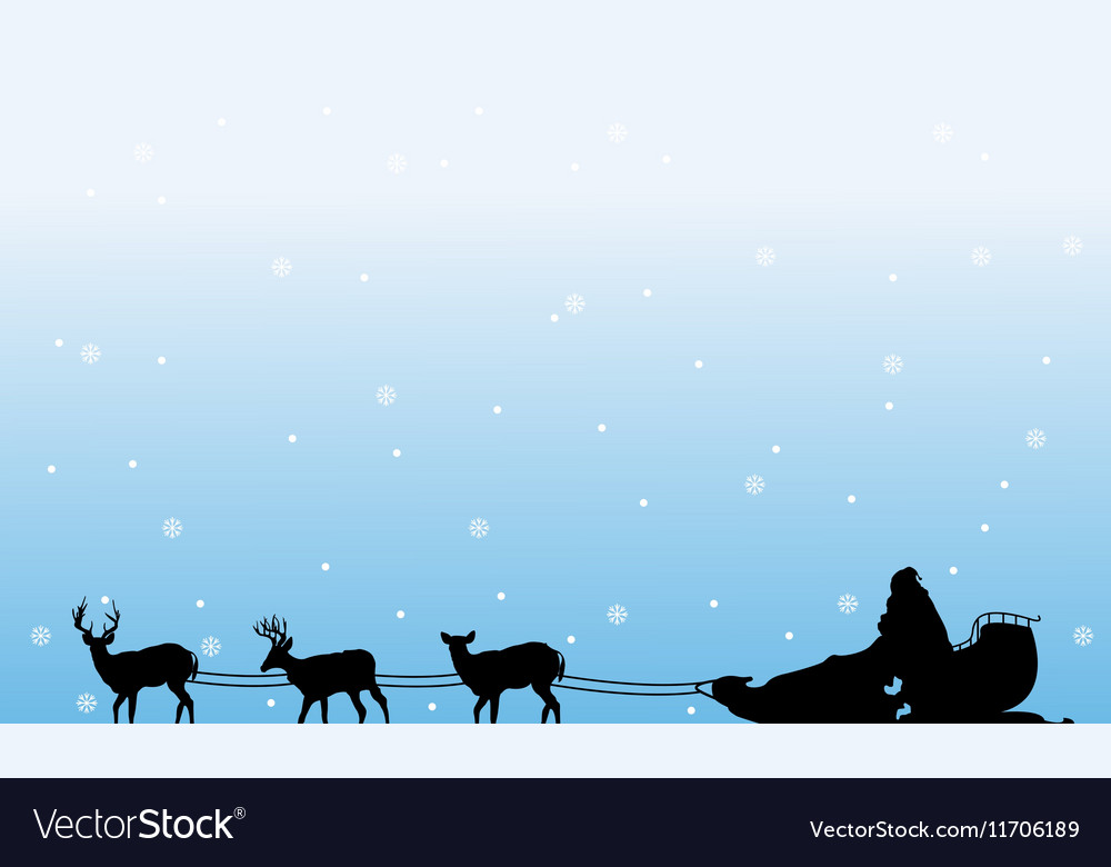 Train Santa with snow of silhouettes landscape