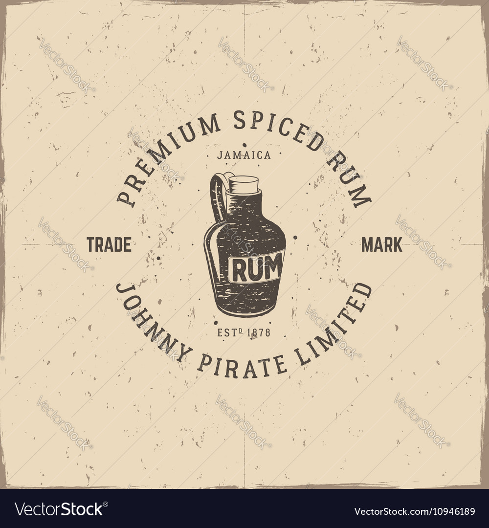 Vintage handcrafted pirate rum emblem alcohol